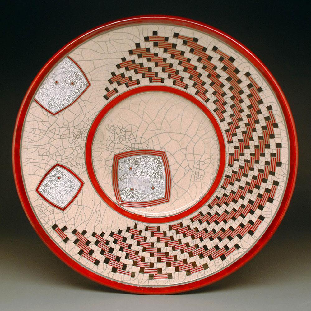Raku Crackle platter with red glaze