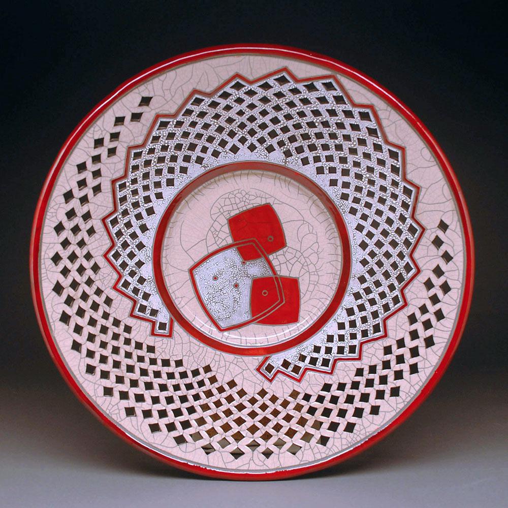 Red Pierced Raku Platter