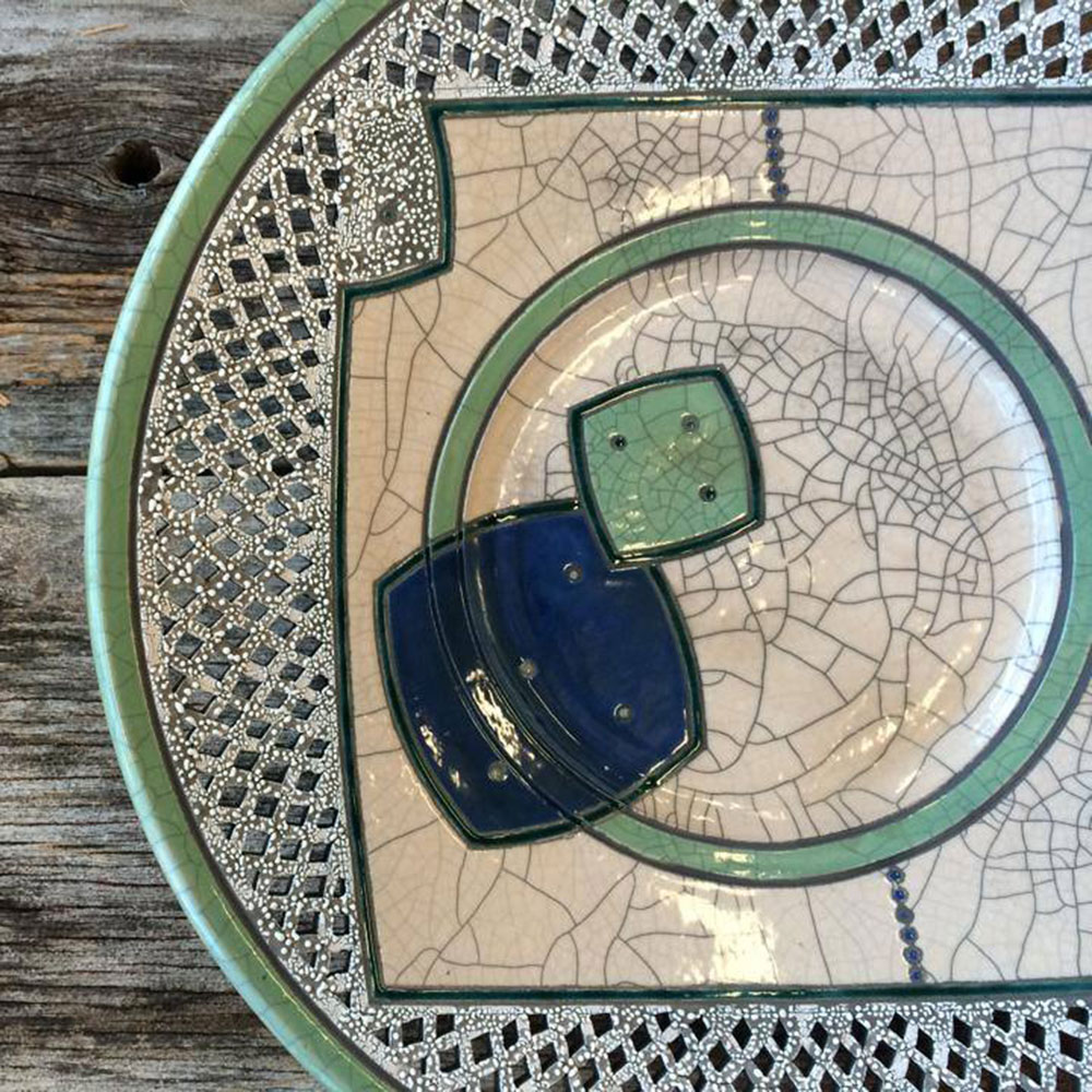 Raku Platter with celadon accent