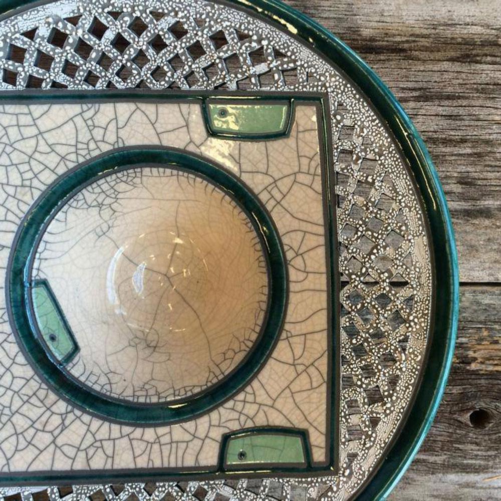 Emerald & Celadon Accent Raku Bowl